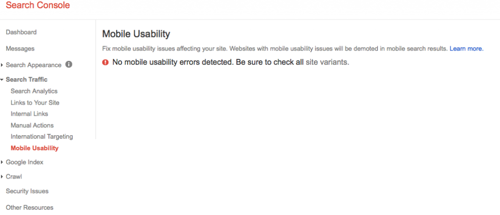 Mobile usability in search console